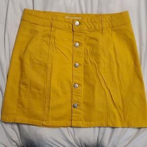 Mustard Yellow Button A-line Skirt
